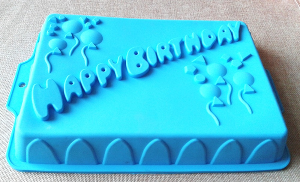 XG010 Size 342345cm Rectangular Shape Happy Birthday Letters Silicone Cake Pan