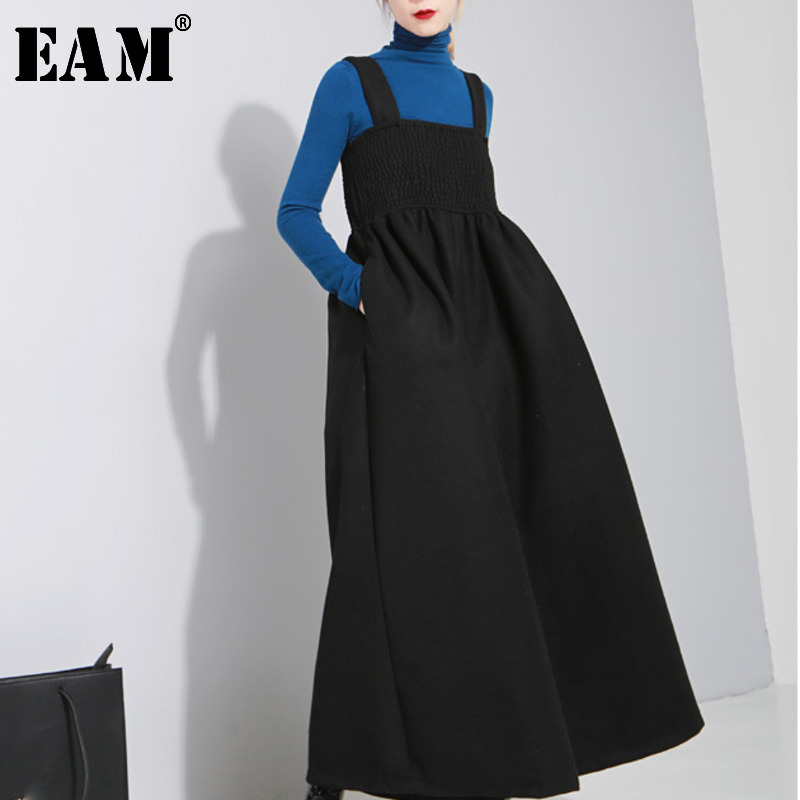 [EAM] 2020 New Autmn Winer Loose Strap Vintage Pleated High Waist Ankle-length Wide Leg Pants Women Fashion Tide OB198
