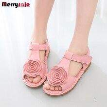 Первый слой кожи сандалии Корейские девушки девушки цветка большой мягкое дно сандалии обувь 2016 лето новый прилив
