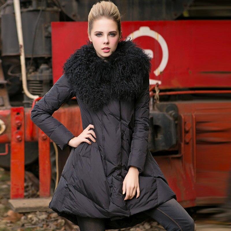 TREND Setter 2017 Winter Casual Wool Fur Collar Jacket and Coat Women Slim Black Parkas