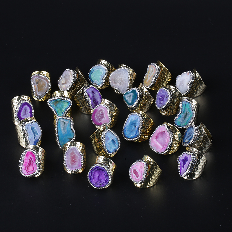 KEJI LAI IPCS Big Gold Multi Colors Geode Crystal Semi Precious Stone Slice Bead Charm Open Hammered Rings Cuff For Woman Man