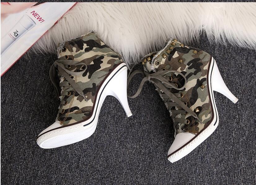 New Hunter Green Camouflage Denim Ankle Women's Boots Fashion Stilletton Heels Pumps Round Toe Cowboy Shoes High Heels Boots kaeve blue denim lace up ankle boots fashion casual thin heels cross tied pumps round toe cowboy shoes jean snow boots