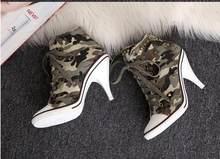 Novo caçador verde camuflagem denim tornozelo botas femininas moda stilletton saltos bombas dedo do pé redondo sapatos de cowboy botas de salto alto