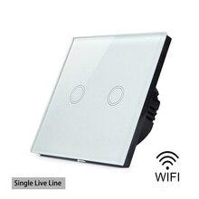 EWelink smart Home, Casa Intelligente Wifi di Tocco Interruttore Impermeabile di Cristallo Di Vetro Interruttore Sul Pannello Singolo linea Diretta No Neutro Interruttore di Linea