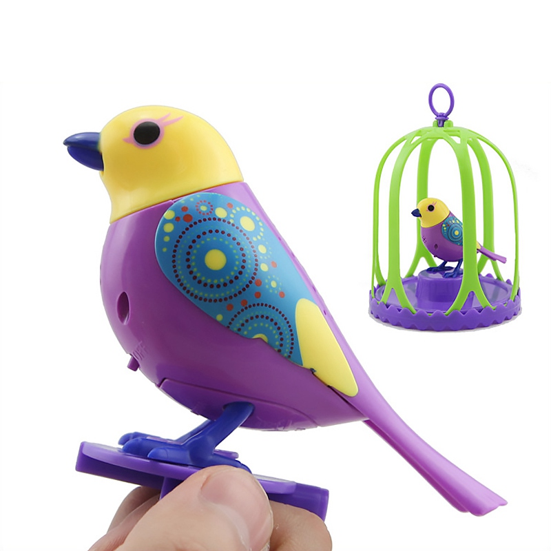 Electric Bird Talking Parrot Digi Birds Intelligent Pets Sound Whistle Induction Concert Bird with Cage Kids Toys For Children
