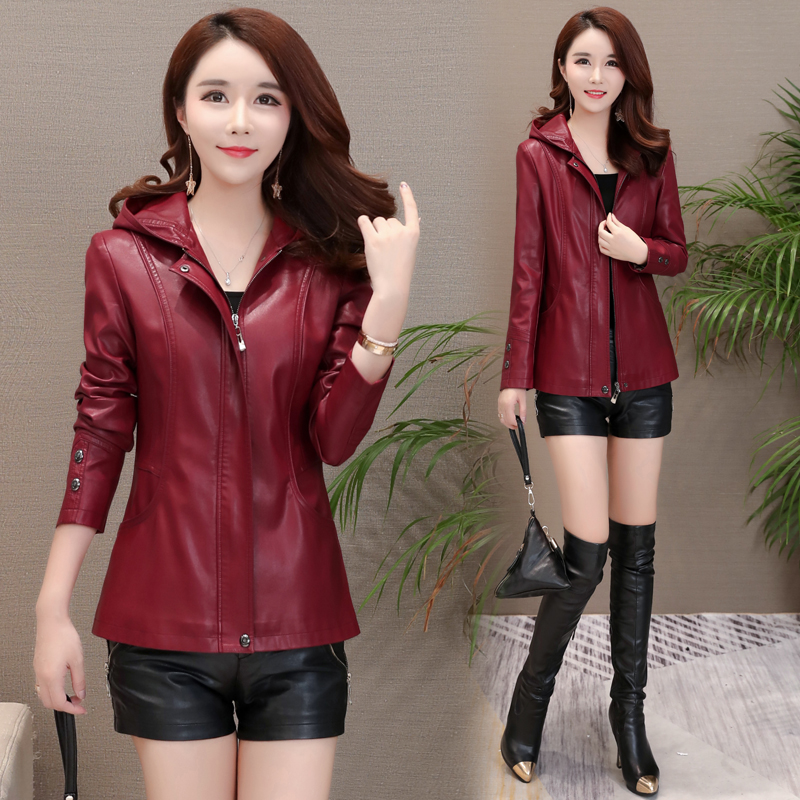 2018 spring autumn coat new leather women mother loose large size long sleeve hooded jacket casual leather parka outwear