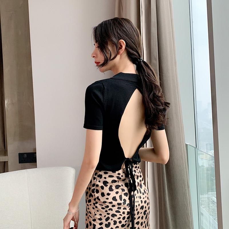 2019 printemps été femmes T-shirt Transparent Sexy dos nu à lacets noir à manches courtes hauts