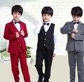 Señores 3-10y nuevo 2016 muchachos del otoño de la alta calidad blazer juegos de ropa 4 unids muchachos completa dress clothes set niños dress traje