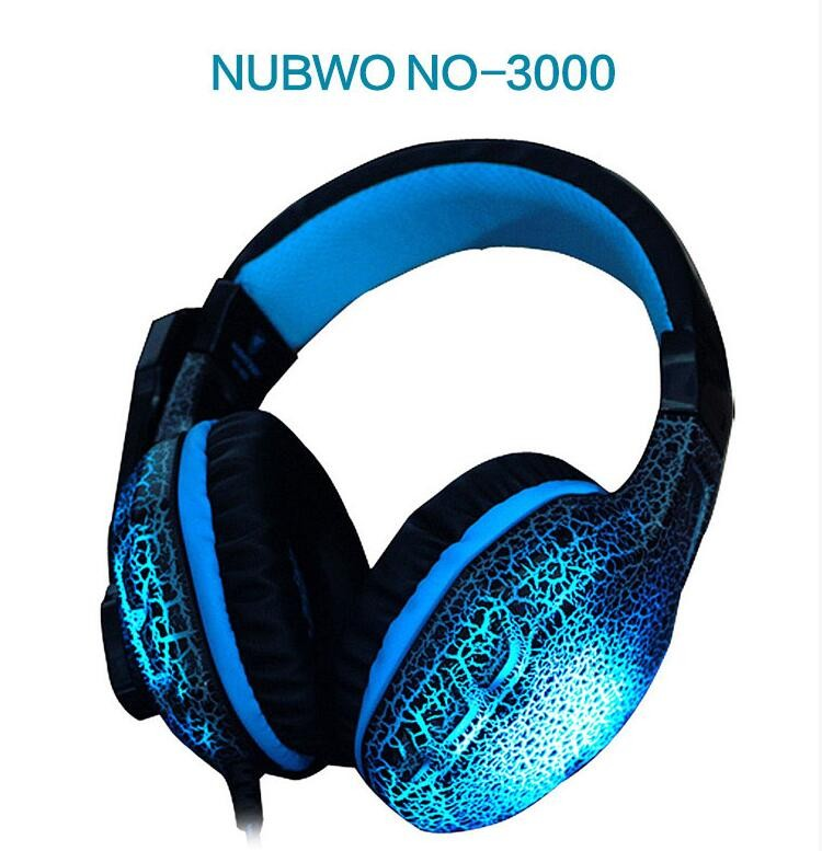 Hot  High Quality NUBWO NO 3000 Esports Cool Flesh Led Gaming Headset Headphone With Mic