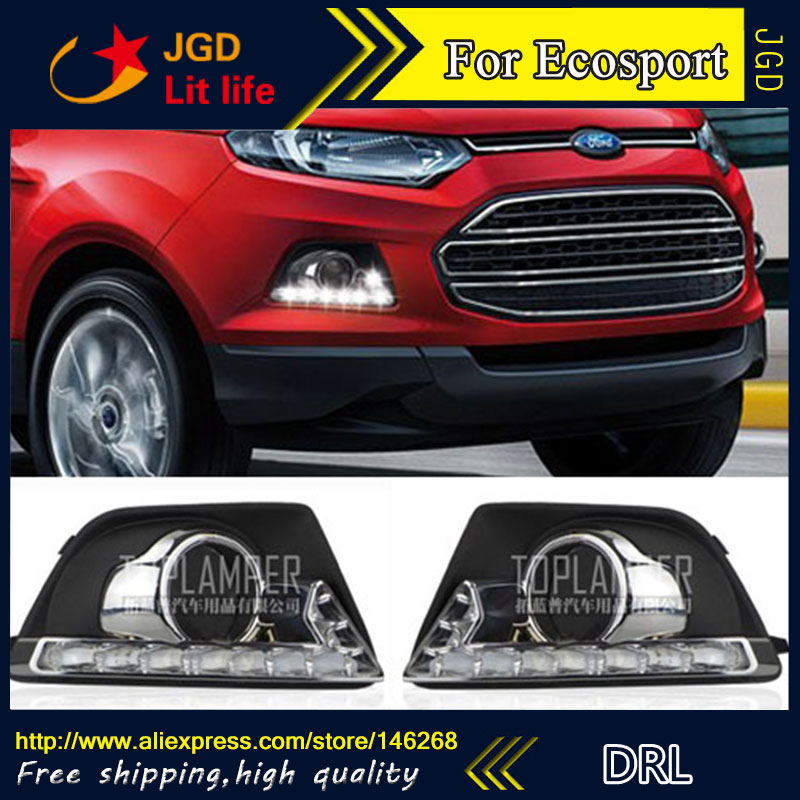 Free shipping ! 12V 6000k LED DRL Daytime running light for Ford Ecosport 2013-2014 Fog lamp frame Fog light Super White free shipping 2pc lot led lights hi q front direction indicator lamp for porsche boxster 987 up to 2008