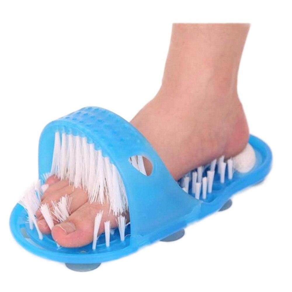 1 unids pie masajeador pie ducha Pies limpiador lavadora pie cuidado de la salud baño hogar piedra masajeador zapatilla azul