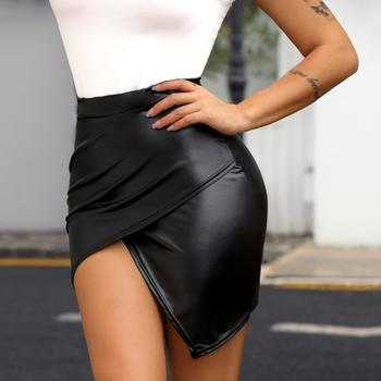 2019 Women Fashion Sexy Black Wrap Solid Asymmetrical Bodycon Skirt Slim Fit High Waist Surplice PU Slinky Skirt surplice neck mixed media dress