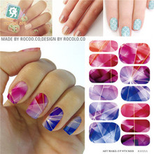 Rocooart K5721B Water Transfer Foil Nails Art Sticker Colored Bright Crystal Nail Sticker Manicure Decor Tools