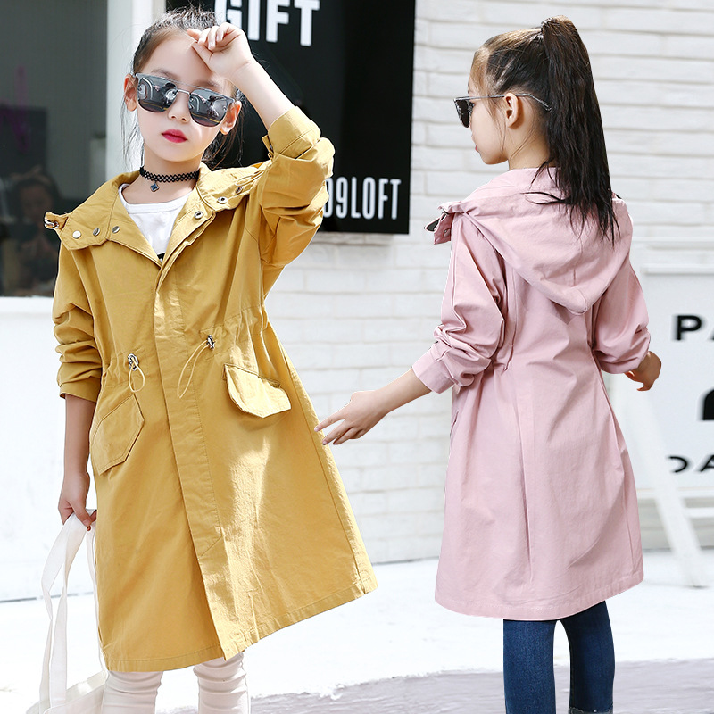 Girls Long Trench Coat Spring Fall Girl Outwear With Hood YELLOW / PINK Waisted Hooded Coat Kids Clothes Teenage Girls Jackets girl