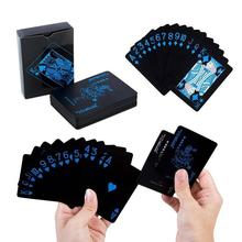 цена на Cool Black Waterproof Plastic PVC Playing Cards 1 Set pure color poker card Close-up Magic Cards Game Poker Card Board Games New
