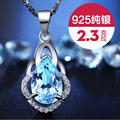 YINHED Luxury 2.3ct Synthetic Topaz Crystal Necklace 925 Sterling Silver Jewelry Water Drop Pendant Necklace for Women ZN026