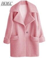 UK New Casual 2017 Spring Winter Woolen Pink coat Women Single button Simple Jacket Overcoat casaco feminino Female Cloth