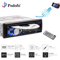 Podofo Car Radio Audio Stereo MP3 Players DVD CD Player 1DIN 12V Car Handfree Indash Autoradio BT with Remote Control DVD Player