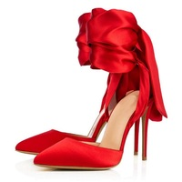 Red Black Silk Shoes Summer Woman Sandals Ankle Lace Up Design Sexy Pumps Elegant Decor Thin Heel Female Party Dress Shoes