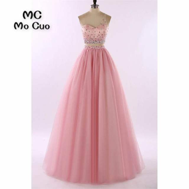 195eac93595 Online Shop 2018 One Shoulder Prom Dresses Long with Beaded Floor Length  Tulle Two Pieces Gown Tulle Formal Evening Party Dress 100% Real