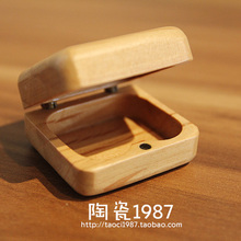 Mini handmade crafts logs of wood ring box stud earring small jewelry gift