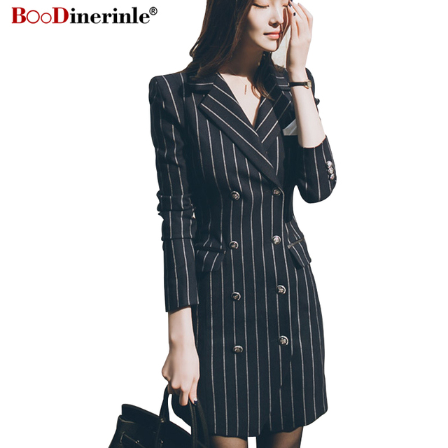 Boodinerinle Winter Women S Blazer Casual Navy Blue Double Breasted
