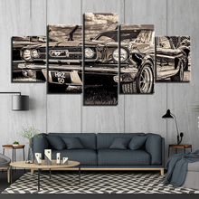 HD Printed 5 panels  1965 Mustang Car Poster Canvas Paintings Wall Art Home Living Room Bedroom Pieces Decor Framework ny-3002