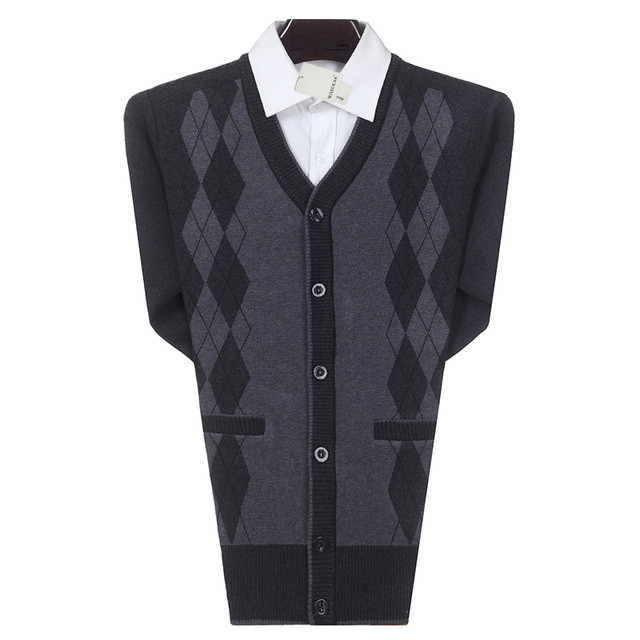 WAEOLSA Men Business Casual Cardigan Sweater Man Cashmere Knitted Tops Male Argyle Cardigans Male V-neck Knitwear Man Cardigans