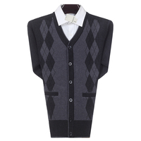 WAEOLSA Men Business Casual Cardigan Sweater Man Cashmere Knitted Tops Male Argyle Cardigans Male V neck Knitwear Man Cardigans