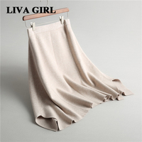 Liva Girl Women S Skirts Irregular Temperament Knitted Thick Section Skirt 2017 Autumn Winter Casual Solid