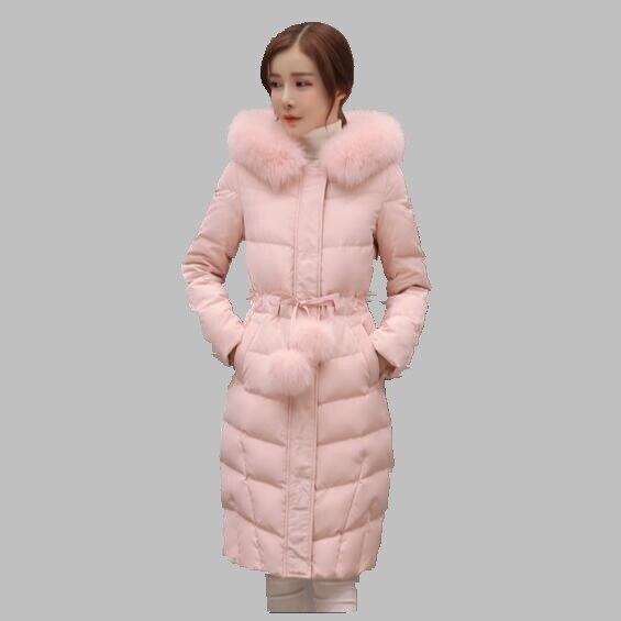Зимняя Куртка Женщин Новый Корейский Моды Большой Меховой Воротник С Капюшоном Пуховик Тонкий Моды Пальто Хлопка Средней Длины Толщиной Куртка AB269