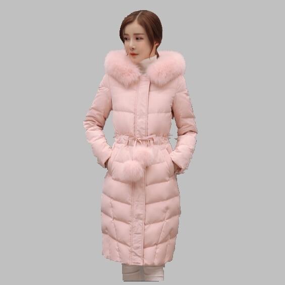 Winter Women Jacket New Korean Fashion Big Fur Collar Hooded Down Jacket Slim Fashion Cotton Coat Medium long Thick Jacket AB269