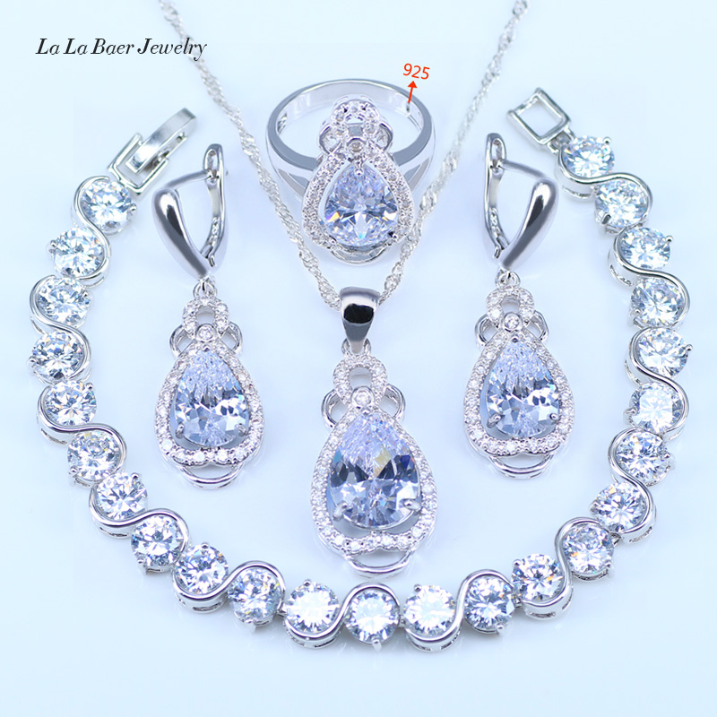 L&B Pure Love style Water Drop White Crystal White Zirconia Silver Color Jewelry Sets 925 Logo For Women Pretty Bracelets Sets punk style pure color hollow out ring for women