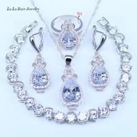 L & B Reine Liebe stil Wassertropfen Weißen Kristall Weißen Zirkonia Farbe silber Schmuck Sets 925 Logo Für Frauen Ziemlich Armbänder Sets