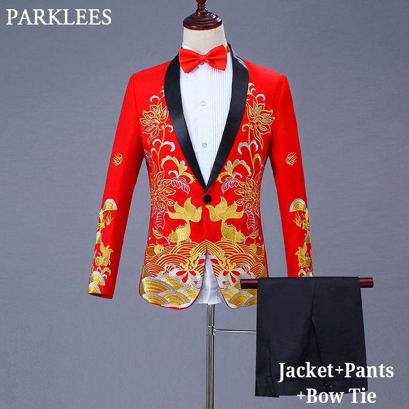 Classic Embroidery Dress Suit Men Gold Jacquard Mens Suits With Pants Prom Party Wedding Grooms Singer Host Stage Costumes Homme