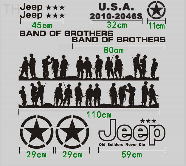 Cool band of brothers car whole body refit stickersfashion car styling vinyl stickers for jeep wrangler and so on on aliexpress com alibaba group
