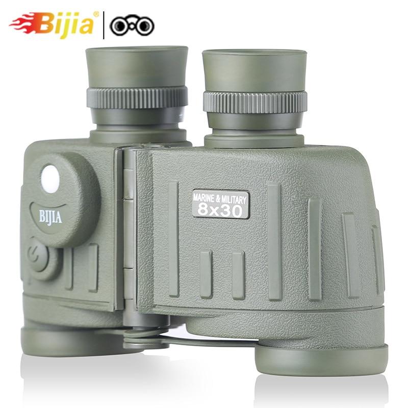 BIJIA 8x30 BAK4 classic military binoculars telescope waterproof field glasses with compass for hunting travel стоимость