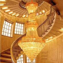 LED 51W-60W Luxury Villa Atmosphere Stair Lamp Ddouble Entry Stair Lights Sitting Room  Crystal Pendant Lamps 220-240V  @-9 chain hoist double entry stair lamp engineering design luxury chain tassel aluminum chain pendant lamp