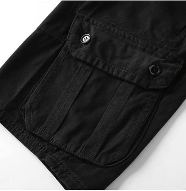 Armée vert militaire Cargo Shorts hommes décontracté genou longueur Multi poche Shorts Homme Slim Fit coton lâche travail court Homme