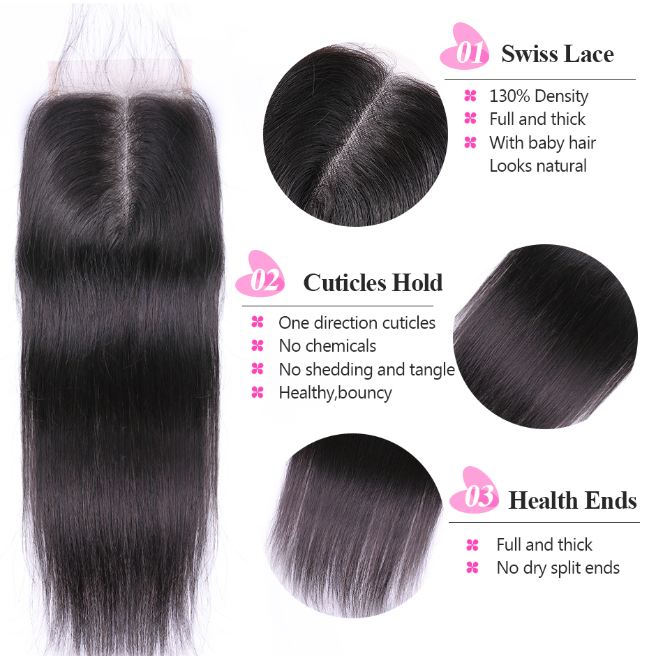 ISEE HAIR Peruvian Straight Hair Bundles With Closure Remy Human Hair Bundles With Closure 3 Bundles With Closure Nature Color