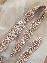 Handmade Rhinestone Crystal Beaded Applique Bridal Sash Wedding Belt Gown Embellishment Decor DIY Acccesssories