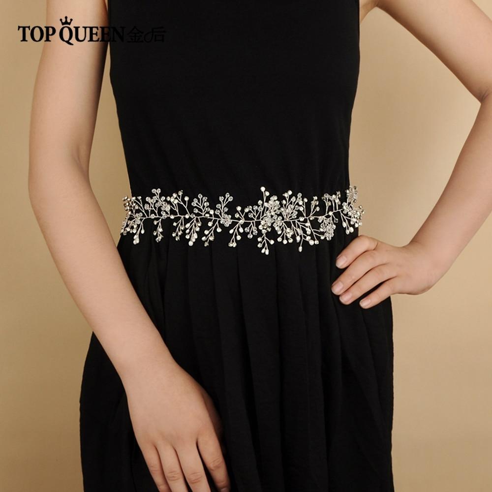 TOPQUEEN SH10-S boda cristal y perlas cinturón delgado para chicas faja de cristal para mujer vestido de fiesta noche cinturón caliente venta
