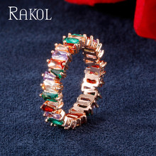 RAKOL Multicolor Thin Baguette T Ring Engagement Handmade Rainbow Trapezoid Stone Rings For Women Fashion Finger Jewelry Anel