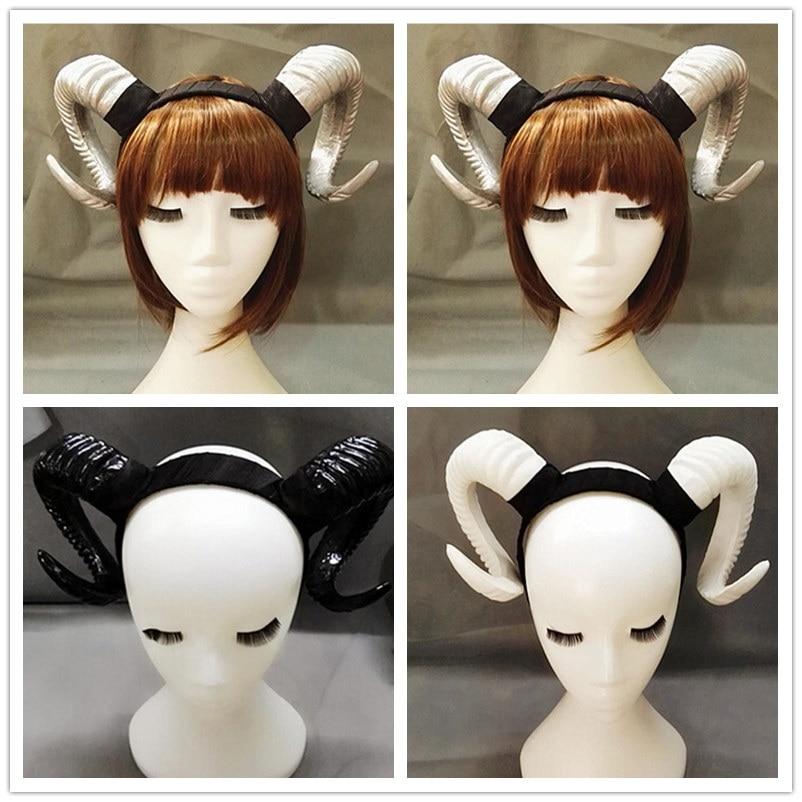 Anime Gothic Sheep Horn Demon Evil Lolita Cosplay Headband Hairband Accessory Halloween Headwear Handmade Prop