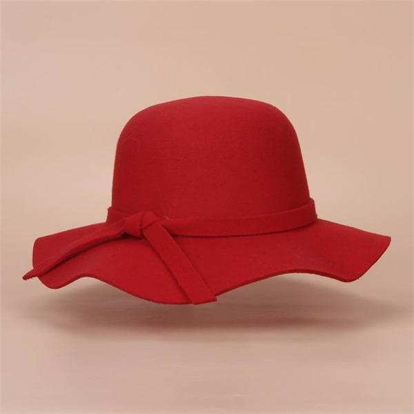 Стиль, мягкая детская шляпа от солнца в винтажном стиле с широкими полями, шерстяная фетровая шляпа-котелок Fedora, широкополая шляпа для девочек, большая шляпа для детей 3-7 лет - Цвет: red