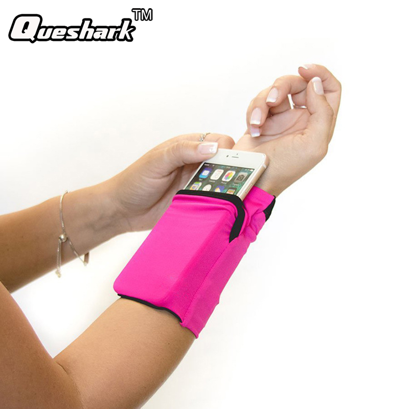 Double Side Wrist Wallet Pouch Wrist Support Pocket Wristband Badminton Tennis Sweatband Gym Cycling Running Phone Arm Band Bag double pocket mobile phone pouch arm bag with velcro strap black
