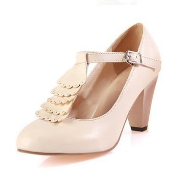 rosado Grueso 2016 Los lavanda Ronda Zapatos Alta Damas Tamaño Baja Boca La Beige Comodines Yardas Primavera Modelos Japoneses Escoge Con negro De Bellas 11rXq