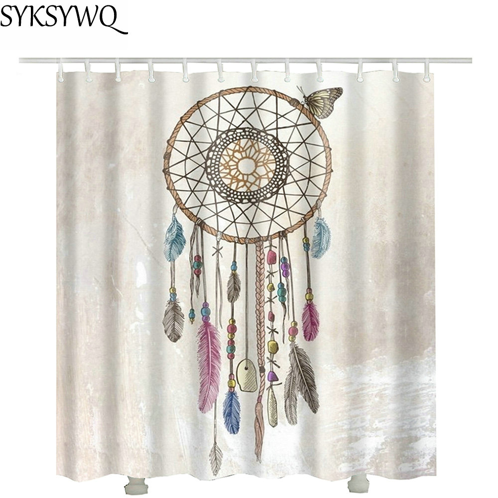 Feather Indian Dreamcatcher Bathroom Shower Curtain Europe Stock Decoration Drop Shipping