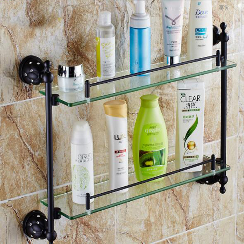 Wholesale And Retail Dual Glass Tiers Wall Mounted Oil Rubbed Bronze Crystal Cosmetic Shampoo Body Wash Shelves Bath shelf