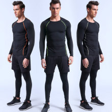 Cool Design Men's Three-piece Running Suit Sportswear Basketball Training Fitness Compression Tight Shirt+Pants+Shorts 3 Pcs Set